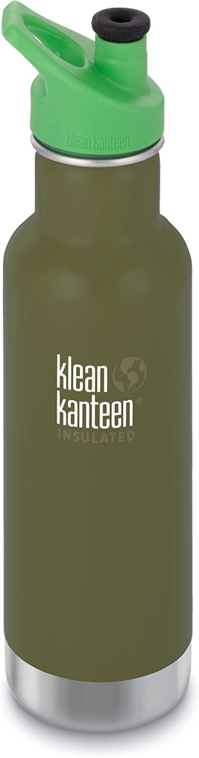 Klean Kanteen 20 oz Classic Insulated Stainless Steel Water Bottle Sport Cap 3.0 in Bright Green