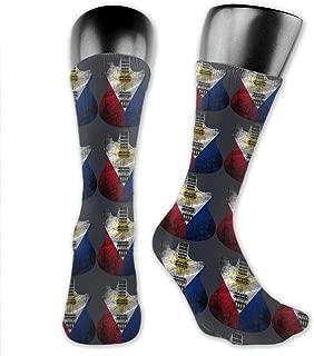 Retro Guitar Flag Philippines Unisex Crew Socks Athletic Socks