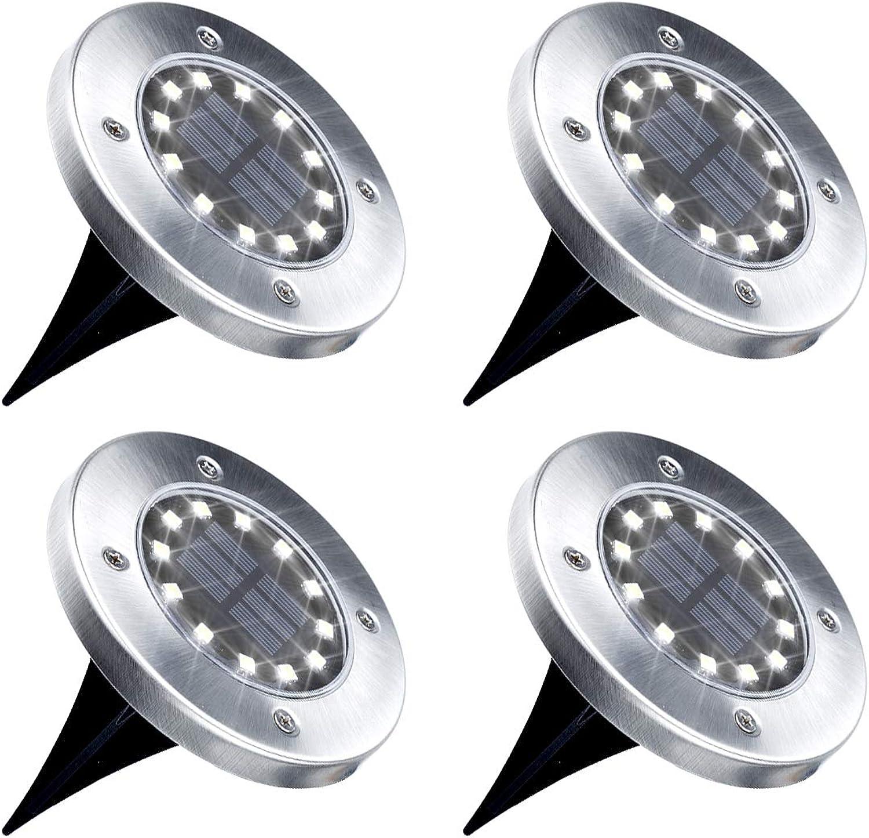 GIGALUMI Solar Bodenleuchte 12 LEDs 4 Stück Solarleuchten Wei Gartenleuchten Edelstahl Wasserdicht für auen, Garten, Terrasse, Rasen, Hof, Gehweg