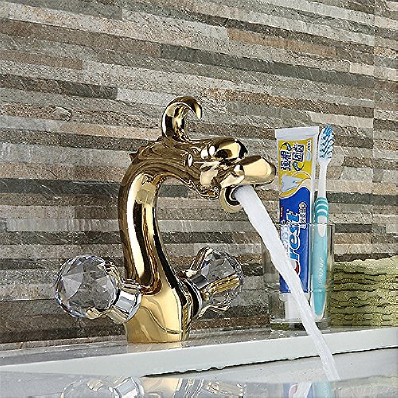 Bijjaladeva Wasserhahn Bad Wasserfall Mischbatterie Waschbecken Waschtisch Armatur für Golden Dragon Wasserbecken Mixer Ihr Gesicht Waschen Waschbecken Single-Wasseranschlu