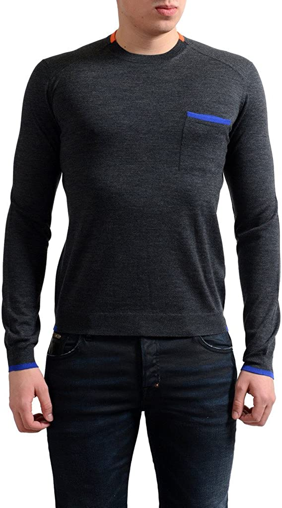 Prada Men's 100% Wool Gray Crewneck Pullover Sweater