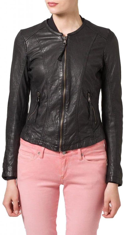Leather Women's Lambskin Leather Bomber Biker Jacket W064