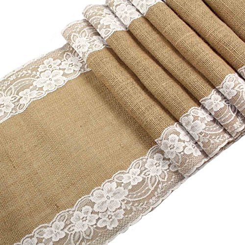 N&T NIETING Burlap Lace Table Runner, 12' x 108' Vintage Natural Jute Hessian Burlap Lace Table Runner for Wedding Christmas Party Event Decoration