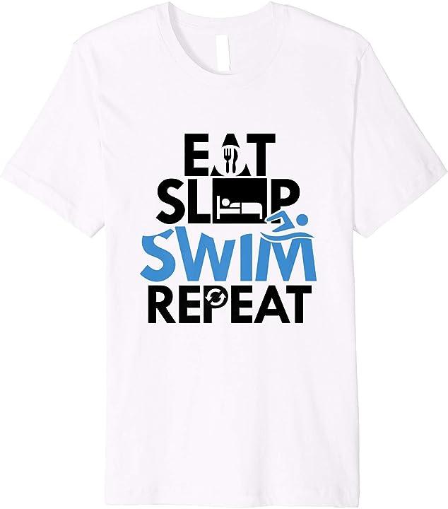 'Eat Sleep Swimming Repeat' Hilarous Swimming Gift Shirt