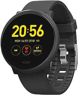 LTLJX Mujer Reloj Inteligente, Fitness Pulsera de Actividad IP67, Monitor de Frecuencia Cardíaca, Sueño, Hombre Podómetro, Notificación para iOS Android Smartwatch,Negro