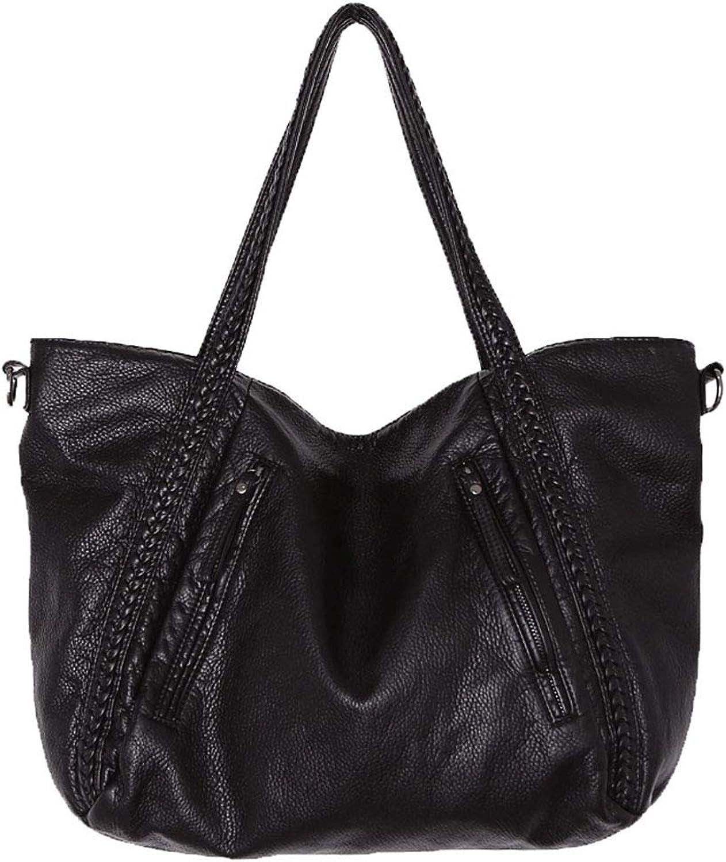 Big Capacity Fashion Women Handbags Soft Leather Lady Tote bag Woven Pattern Shoulder Bag(Small)