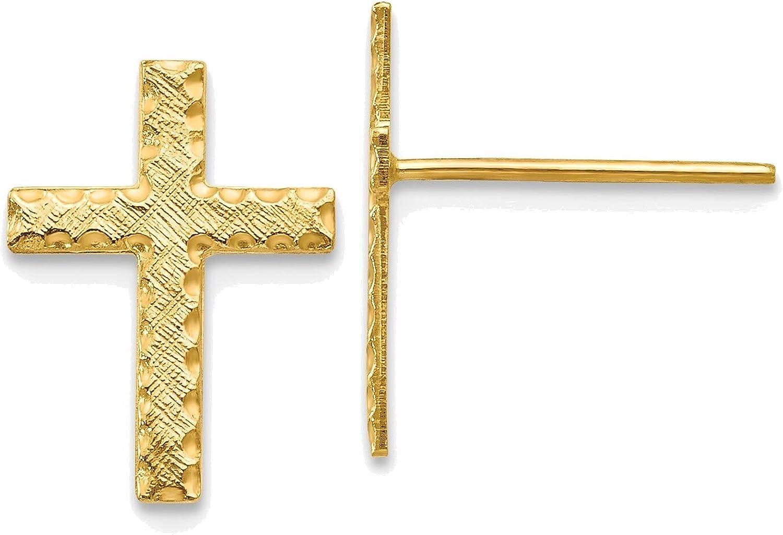 Brushed Finish Cross Earrings in 14K Yellow Gold