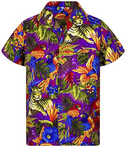 V.H.O. Funky Hawaiihemd, Kurzarm, Dschungel, Jungle, violett, XL