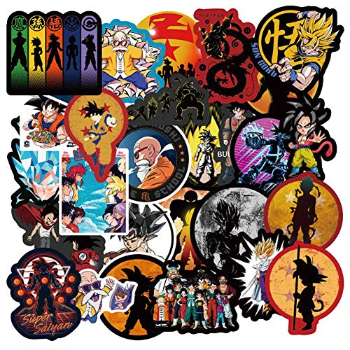 CAR-TOBBY Dragon Ball Z Anime Stickers, 108 Stks Anime Vinyl Sticker voor Waterfles Nintendo Switch Bagage Bike Motorfiets Auto