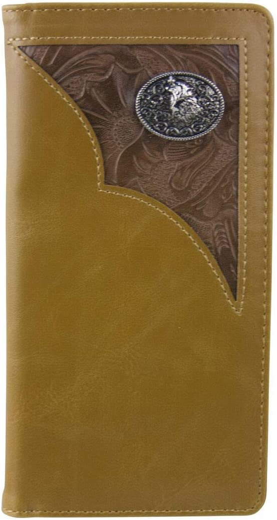 Brown Vegan Leather Tooled Wolf Emblem Mens Rodeo Long Bifold Wallet - Bags and Wallets for You!