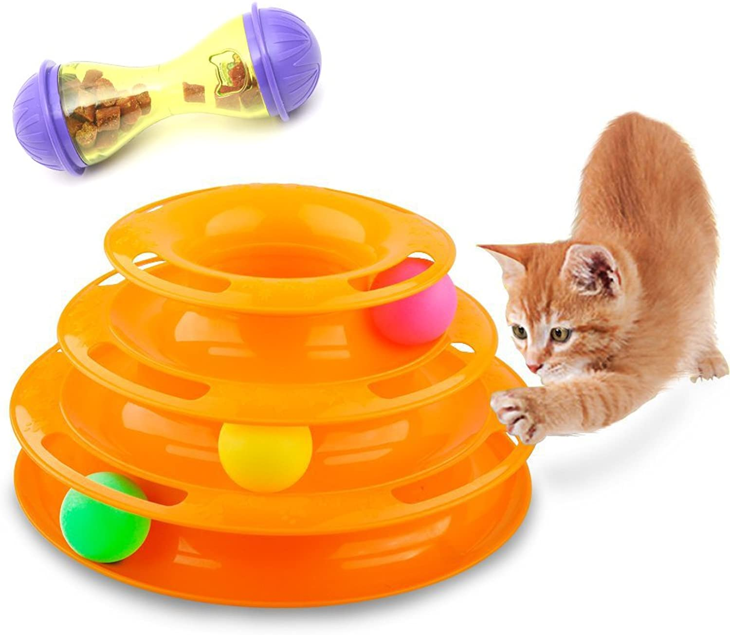 CFStore@ ThreeLever Tower of Tracks Interactive Cat Ball Toys w  Complementary Cat Food Tumbler (MCCWMMYXPOR)