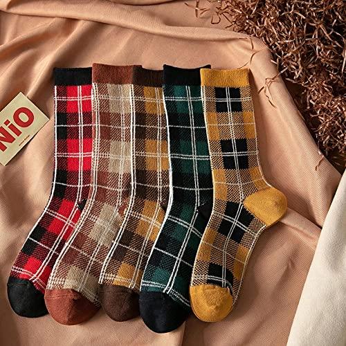 MIWNXM 10 Pares Retro Plaid Cotton Women Mid-Length Socks Double Needle Harajuku StyleSweet Girls Long Socks Women Socks