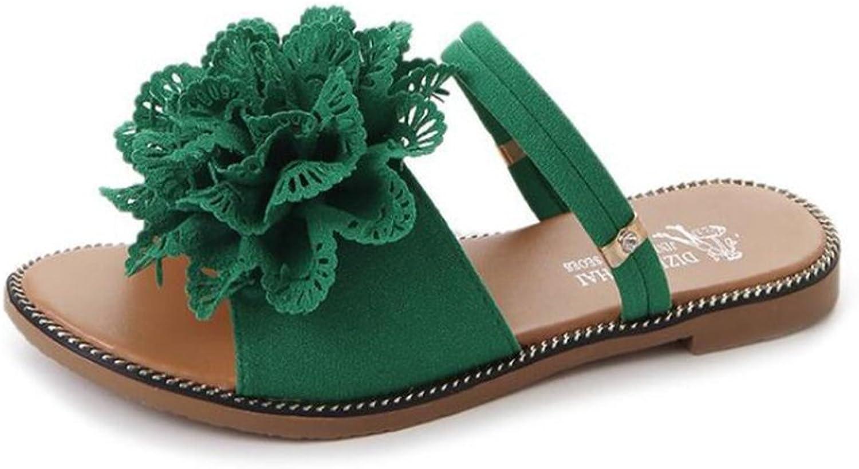 Women's shoes PU Summer Comfort Slippers & Flip-Flops Flat Heel Open Toe for White, Green, Black Flowers