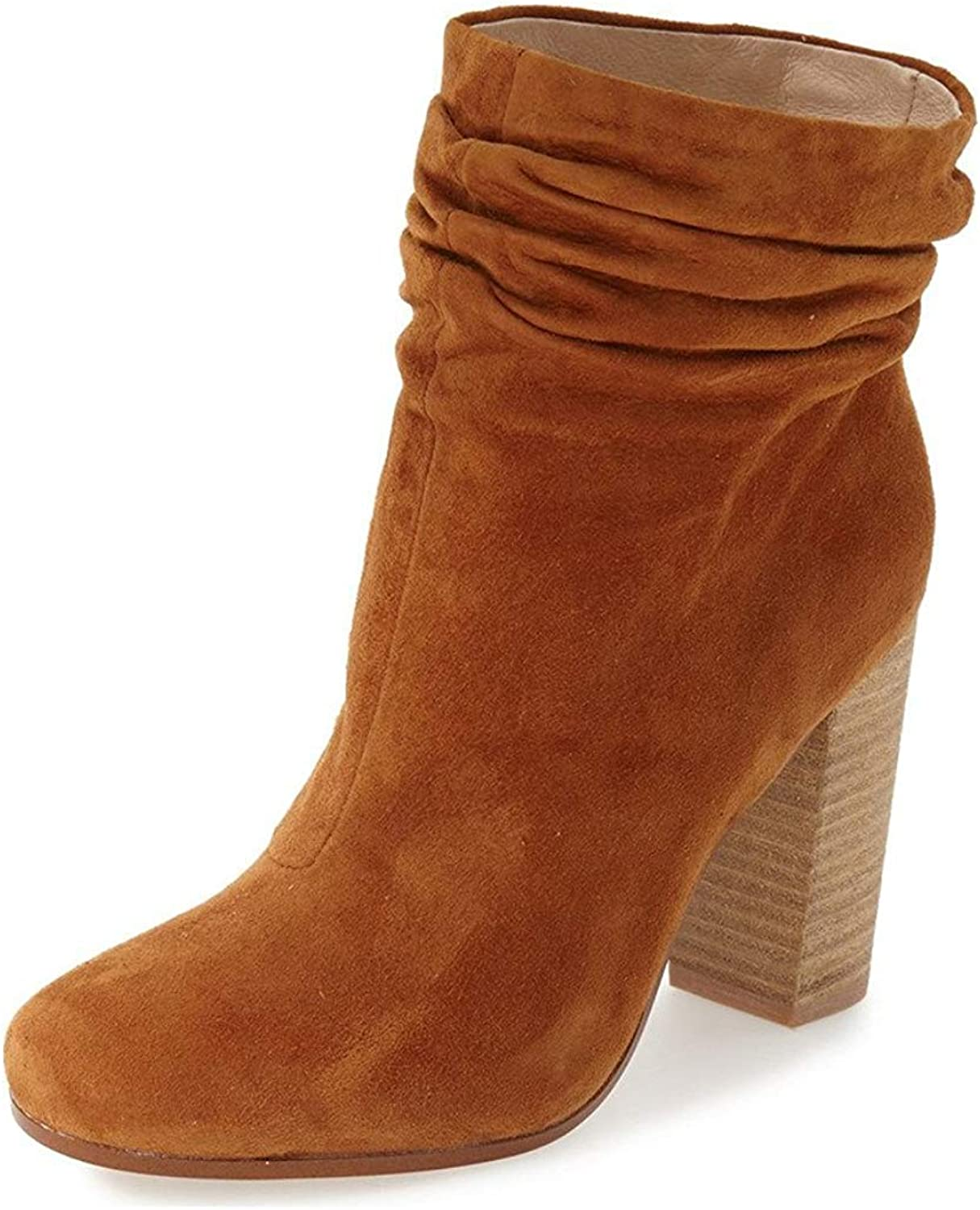 YDN Women Casual Faux Suede Slouchy Booties Round Toe Ankle High Stacked Heel Boots