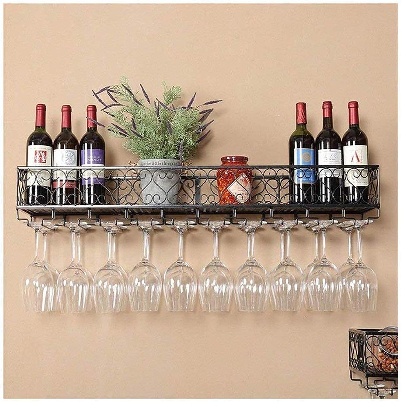 Cocina Colgante de Parojo Estante para Vino Colgante Portavaños Colgante Cánula Estante Vino Creativo Estante de Vino Vino Al revés Portavaños (Color   negro, Talla   50x25cm)