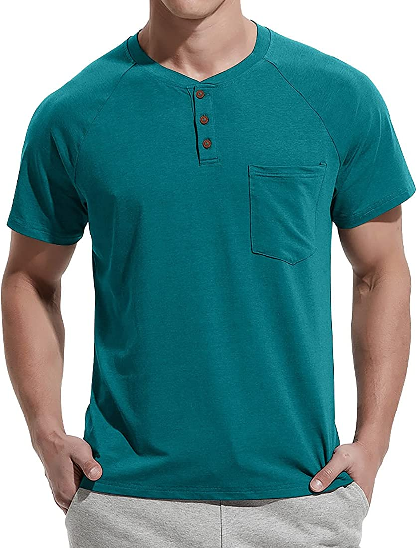 NITAGUT Men's Summer Price reduction Superlatite Casual T-Shirts Short Raglan Placket Front