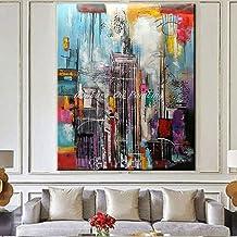 N / A Sin Marco Mintura Art Modern Abstract Oil Painting On Canvas Tall Building Art Picture Wall Art para la Sala de Estar Decoración del hogar