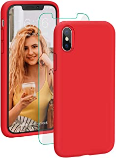 ProBien Case for iPhone X/XS, Liquid Silicone Full Body Protective Cover with Tempered Screen Protector Shockproof Durable Shell Compatible for iPhone X/iPhone Xs 5.8 Inch 2018 Released-Red