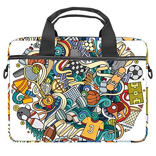 Sports Graffiti Laptop Case Canvas Pattern Briefcase Sleeve Laptop Shoulder Messenger Bag Case Sleeve for 13.4-14.5 inch Apple MacBook Laptop Briefcase