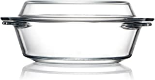 Clear Round Glass Casserole With Lid Glass Bakeware Easy Grab Glass Baking Dish, Glass Casserole Bowl with Glass Lid (1L)