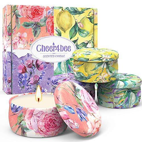 Cheer4bee Geschenke für Frauen - Duftkerze, Adventskalender 2020 Kerzen, Zitrone, Lavendel, Mediterrane, Feige, 100% Natürliches Sojawachs, Duftkerzen Set, Geburtstag, Jahrestag, Weihnachten