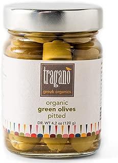 Tragano Greek Organics - Pitted Greek Green Olives | USDA-Certified Organic | 8 oz jar
