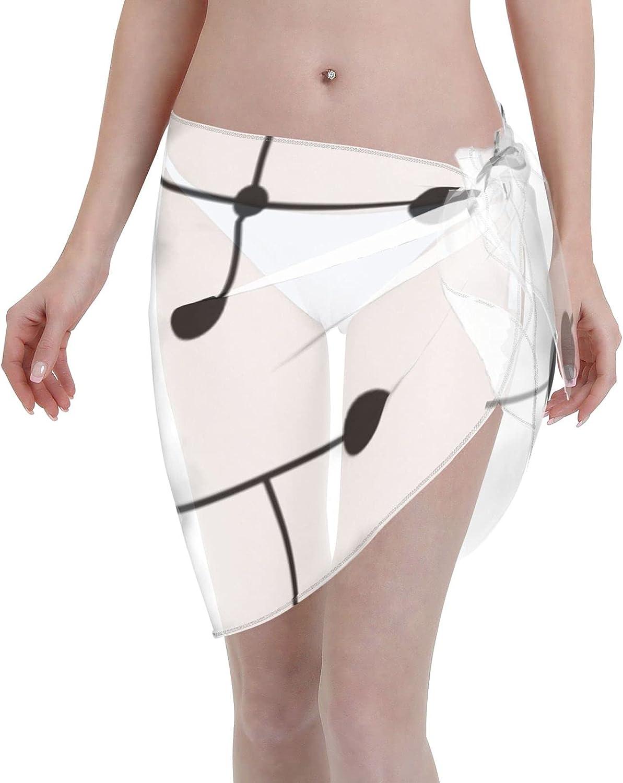 Midcentury Modern Dots 2.5 Women Chiffon Beach Cover ups Beach Swimsuit Wrap Skirt wrap Bathing Suits for Women