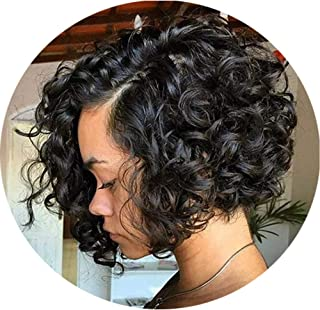 9.8 inch Lace Front Black Wave Bob Curly Brazilian Wigs For Black Women
