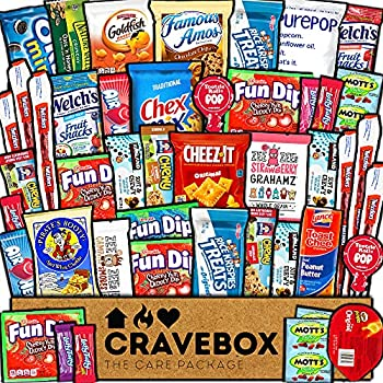 CraveBox Care Package  45 Count  Snacks Food Cookies Granola Bar Chips Candy Ultimate Variety Gift Box Pack Assortment Basket Bundle Mix Bulk Sampler Treats College Students Office Staff Back School