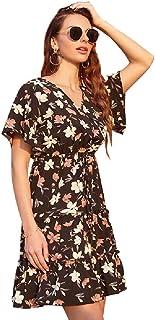 Vestido de Las Mujeres Europeas y Americanas Florales de Gasa de la Moda 2020 Vestido de Vacaciones de Ocio Retro Dulce