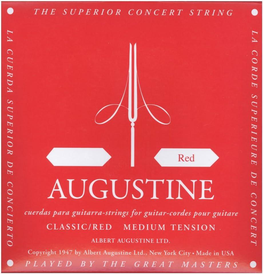 Augustine Cuerdas para Guitarra Clásica, Rojo, Mi6, Tensión Medio