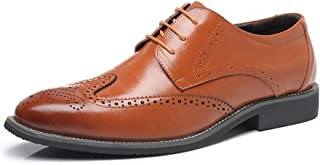 Fashion Shoes,Casual Shoes Men's Wingtip Oxford Shoes Genuine Leather Brogue Shoes Hollow Carving Lace Up Classic Formal Business Block Heel Lined Oxfords for Men Personality Shoes, Oxford Shoes