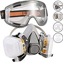 Fabur Kit de Máscara de Gas mas Gafas de Seguridad, Respirador Semimáscara Antigas Mascarilla Gas Filtros Respirador Protección Respiratoria para Pintura, Polvo, Productos Químicos, Formaldehído
