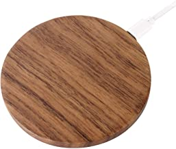 JUBECO Wood Wireless Charger, 7.5w for iPhone Xs,Xr, 8/8 Plus,10w for Samsung Note 8/9, S9/8/7/6 and All QI Smart Phones. (AC Adapter Not Included). (Walnut)