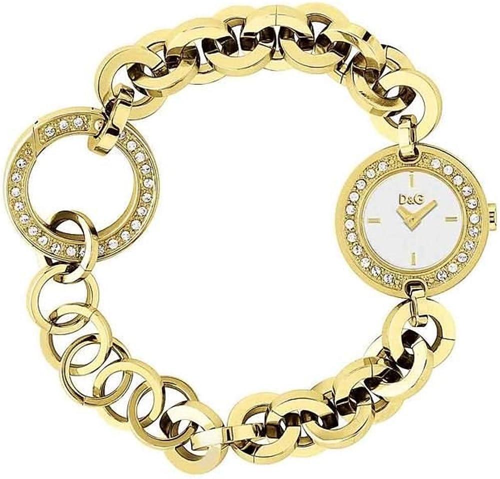 Dolce & gabbana, bellissimo orologio da donna, in acciaio inossidabile placcato oro con zirconi DW0203