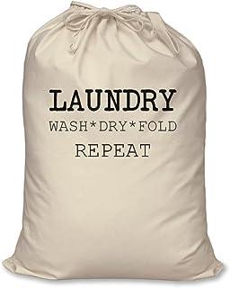 Laundry Bag Wash Dry Fold Repeat 100% Natural Cotton Home Storage Organisation Washing Basket