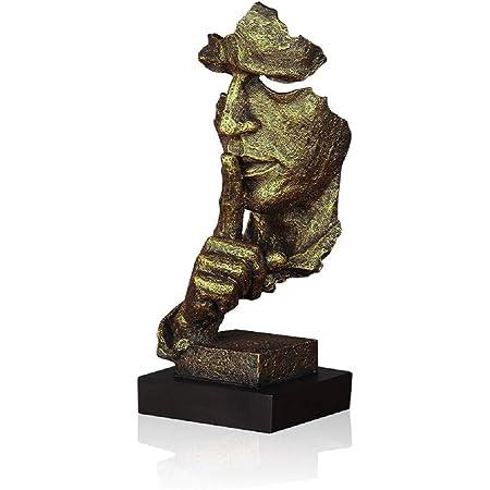 Lependor Silence est d'or - 34cm Statues d'hommes Silencieux fabriqués à la Main en résine Sculpture Abstraite Bureau décor à la Maison Figurine Cadeau - Silence, d'or