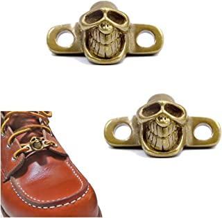 Shoes Boot Lace Keeper Charm - 2pcs Handmade Brass Shoelace Tag Pendant Decoration