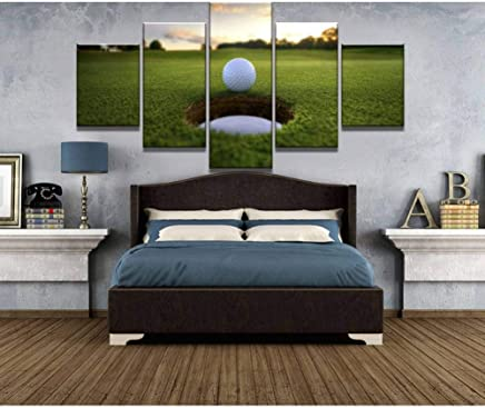 HOMEDCR Canvas Print Murals For Home Decor 5 Piece Hd Print Large Golf Course Leisure Sport Painting Canvas Wall Art Picture Home Decoration Living Room Canvas Painting(Frameless)