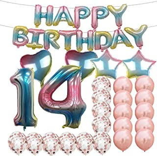 Sweet 14th Birthday Decorations Party Supplies,Rainbow Number 14 Balloons,14th Foil Mylar Balloons Rose Gold Latex Balloon Decoration,Great 14th Birthday Gifts for Girls,Women,Men,Photo Props