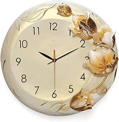 Wall Clocks Round Clocks Living Room Relief Fashion Mute Clock Tulip Quartz Clock 16 inches