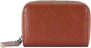 Elenxs Women Men Double Zipper Credit Card Wallets RFID Blocking ID Holder Leather Card Cases Pouch Bag Handbag