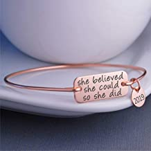 Rose Gold She Believed She Could So She Did Bangle Bracelet with 2019 charm, Graduation Gift, Birthday Gift for Her