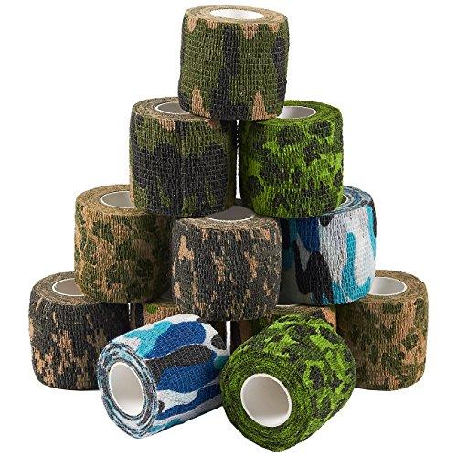 Vendaje autoadherente – Paquete de 12 cintas médicas de camuflaje para primeros auxilios, deportes, muñeca, tobillo en 6 colores de camuflaje surtidos, 2 pulgadas x 5 yardas