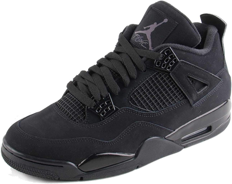 Amazon Com Nike Mens Air Jordan Retro 4 Black Cat Black Black Lt Graphite Synthetic Size Basketball