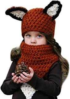 Wool Knitted Hats Baby Girls Shawls Hooded Cowl Beanie Caps (Coffee)