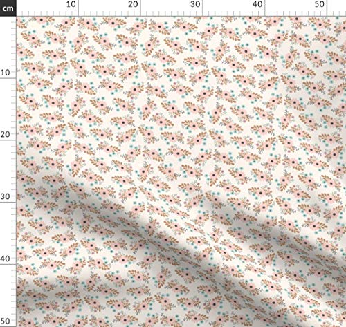 Hell Pink, Baby Blau, Mädchen, Kinderzimmer, Blumen Stoffe - Individuell Bedruckt von Spoonflower - Design von Megan Kline Gedruckt auf Leinen Baumwoll Canvas