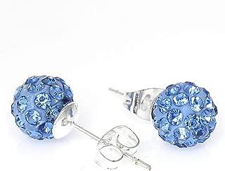 8mm Rhinestones Fireball Disco Ball Pave Bead Stud Earrings