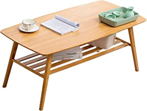 Coffee Table Bamboo Center Table: Rectangle 2 Tier 100x50x50cm with Storage Shelf for Living Room Reception Room, Easy Ass...