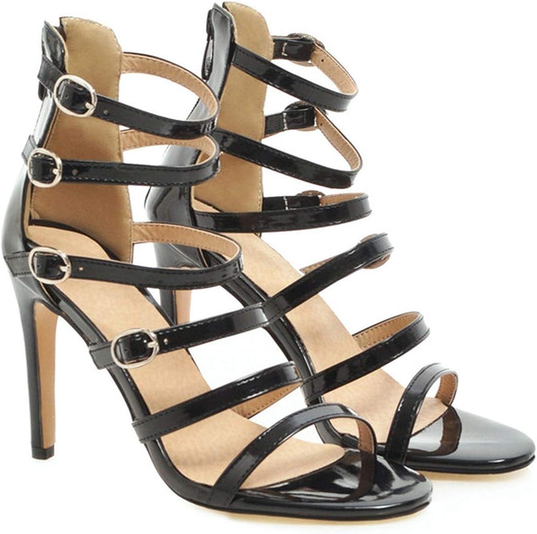 YuJi Sandals Summer Buckle Stiletto Heel Gladiator shoes Zipper Super High Heel Party Sandals